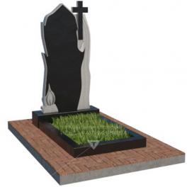 Памятник с резным крестом и свечой