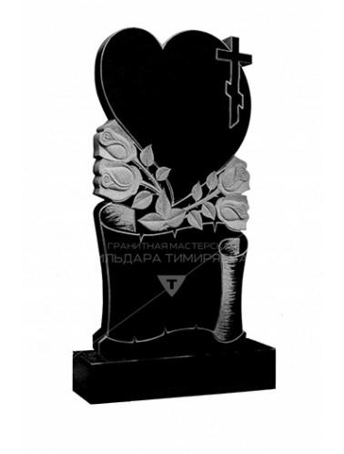 Памятник Сердце с розами и крестом