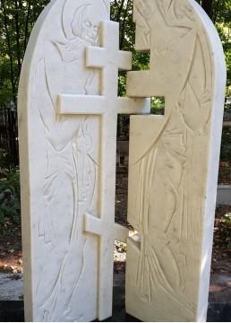 Барельеф из мрамора с нанесением ликов святых