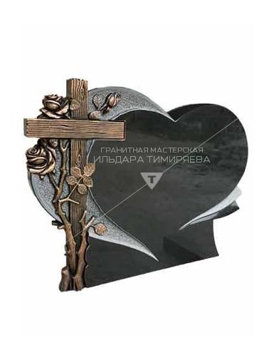 Памятник в форме сердца с крестом и розами Модель EU-30