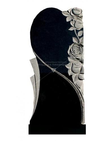 Памятник в форме половинки сердца с розами Модель vpk4230