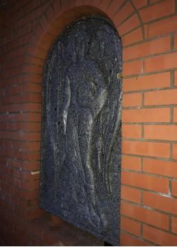 Барельеф из гранита в храм. Изображение лика святого Михаила